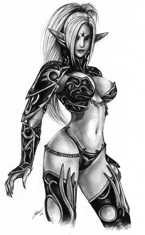 Dark elf drawing cartoon women